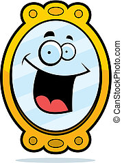 A cartoon fancy mirror smiling and happy.