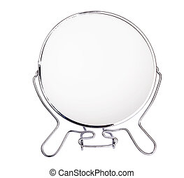 mirror - silver makeup mirror isolated on white