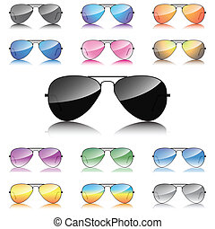 Mirror sunglasses icons set