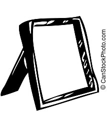 Mirror - The white image of a small mirror on a support