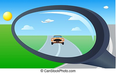mirror view of a car from a vehicle
