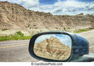 Mirror View Of Badlands Mountain