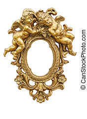 Mirror with angels - Small mirror with angels in gold