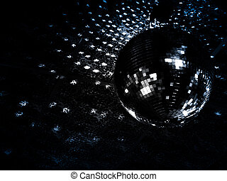 Mirrorball reflections on a ceiling of a night club. Focus...