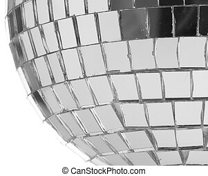 mirrorball - extreme closeup of a mirrorball on white...