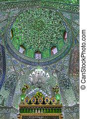 Mirrored interior of Ali Ibn Hamza shrine in Shiraz, Iran