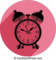 Mirroring alarm-clock 3d vector symbol, best for use in graphic design. Call the waiter concept. Time management theme.
