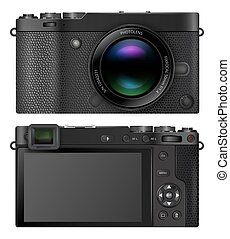 Compact mirrorless interchangeable lens digital photo camera with electronic viewfinder EVF, retro design. Vector illustration