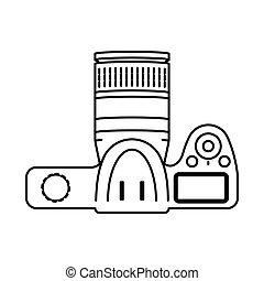 Mirrorless professional digital camera with lens vector