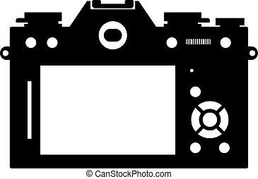 Mirrorless photo camera's back view