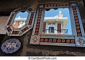 Mirrors in Puebla city - Colonial building reflected from a ...