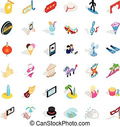 Mirth icons set, isometric style - Mirth icons set....