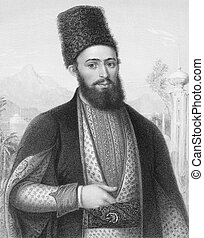 Mirza Mohammed Hassan Husseini Shirazi (1814-1896) on engraving from the 1800s. Famous cleric in Iran and Iraq. Best known for his fatwa against the usage of tobacco in what became known as the Tobacco Protest in the Qajar era. Engraved by W.Holl and published by Fisher, Son & Co, London in 1845.