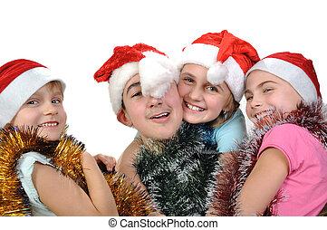 misét celebráló, barátok, csoport, karácsony, boldog