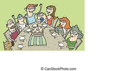 misét celebráló, birthday:, kéz, húzott, ábra, közül, egy, család, mindenfelé, asztal., ábra, van, alatt, eps10, vektor, mode!