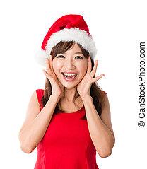misét celebráló, leány, karácsony, kínai