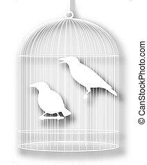 mis cage, coupure, oiseaux