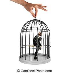 mis cage, homme affaires