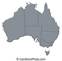 mis valeur, carte, territoire, australie, capital