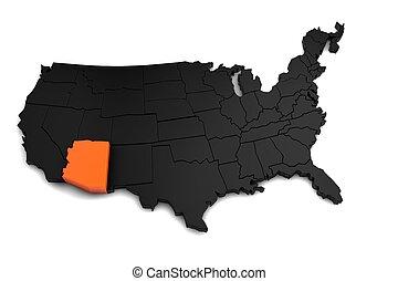 mis valeur, uni, render, carte état, amérique, etats, orange., noir, arizona, 3d
