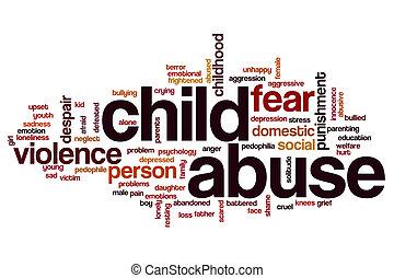 misbruiken, woord, wolk, kind