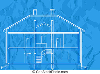 misc 0003 - vector House Plans. White outlines on blue ...