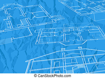 misc_0003 - vector House Plans. White outlines on blue...