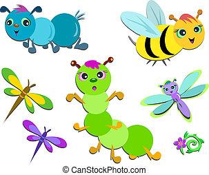 miscelare, di, carino, insetti