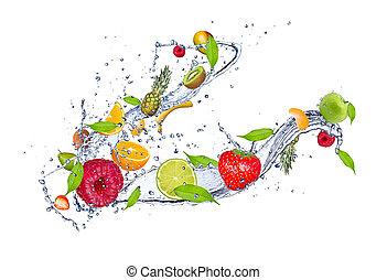 miscelare, di, frutta, in, acqua, schizzo, isolato, bianco, fondo