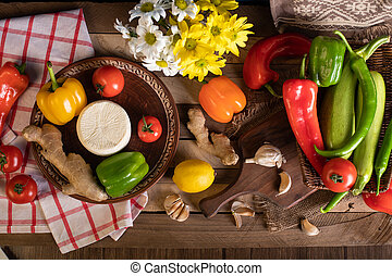 miscelare, tavola, legno, verdura