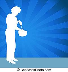 miscelazione, usando, donna, ciotola