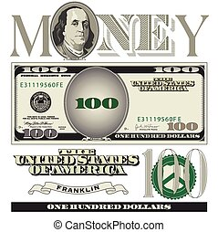 Miscellaneous 100 dollar bill elements for Print or Web