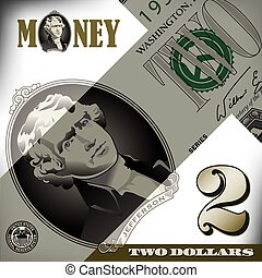 Miscellaneous 2 dollar bill element