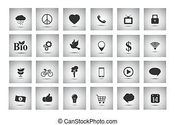 Miscellaneous and business objects flat gray icons
