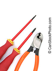 Miscellaneous electric tools on white background