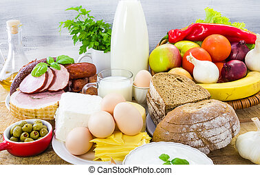 Miscellaneous food dairy products bread meat - Miscellaneous...