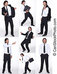 miscellaneous full-length shots of businessman in various postures
