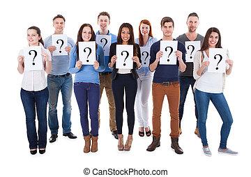 miscellaneous, gruppe folk, holde, spørgsmål, tegn