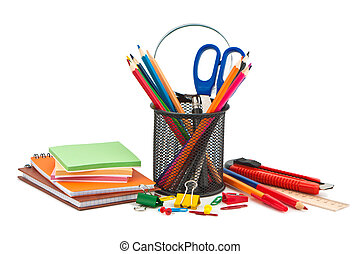 Miscellaneous office supplies on white background.