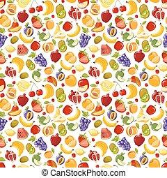 Miscellaneous vector fruits seamless pattern. Banana kiwi...