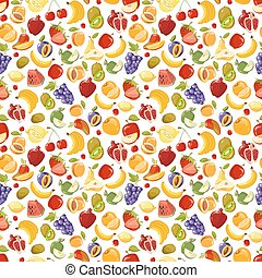 Miscellaneous vector fruits seamless pattern. Banana kiwi...
