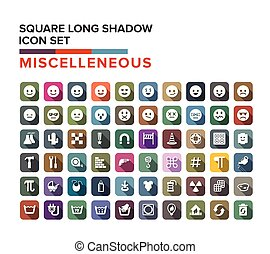 Miscelleneous and emotion icons long shadow set, Vector illustration