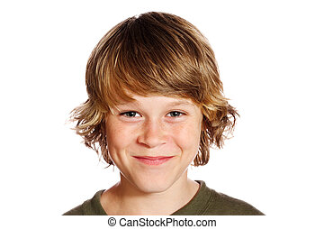 A smiling teenaged boy isolated on white