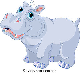 Mischievous hippo - Illustration of very cute hippo