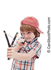 Mischievous kid aiming with sling - isolated