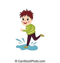 Mischievous little boy jumping on puddle, cartoon character of naughty boy
