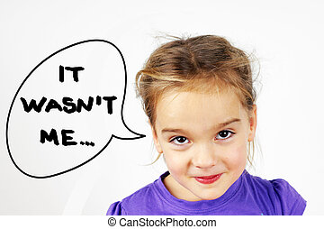 Little blond girl with mishievous face and It wasn't me text in speech bubble