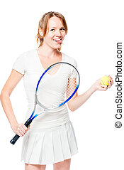 mischievous young girl tennis player posing on a white background