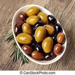 mischling, olives.