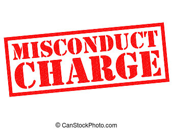 MISCONDUCT CHARGE red Rubber Stamp over a white background.